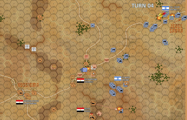 Turn 4 - Jebel Sabha is finally taken.  The difference here is is that while the infantry were left behind to grind down Egyptian resistance in this border town, Israeli tanks and halftracks were swinging around this obstacle to simultaneously attack other objectives at the same time.  For instance, 7th Armored has more or less suppressed Archer Ridge and is now threatening Kussiema East from the southeast.  First Israeli artillery missions have landed on these hexes and started burning down Egyptian infantry platoons dug in on that crossroads objective hex.