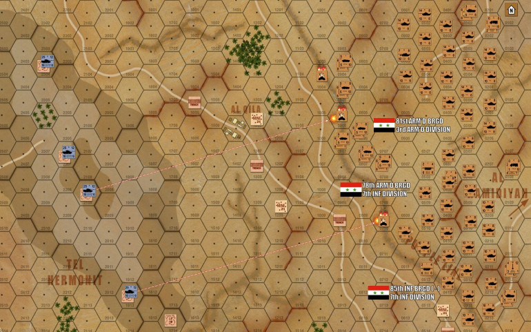 Turn one, and first blood is drawn!  Under a massive pall of sand and dust, almost 300 Syrian AFVs roll toward the Purple Line (cease-fire line between Syria and Israeli-occupied Golan Heights).  But at the range of 12 hexes (3000 meters), Damon's Sho't Cals have already opened fire and scored the first kills, as the Syrian armor pushes through the antitank ditch dug along the 1967 cease-fire line.