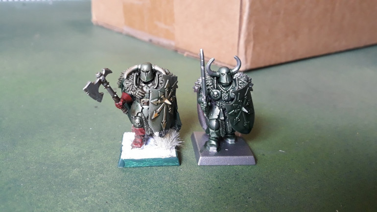 Nurgle warrior finished/target vs progress mini - OK with where the armour is at for these guys.