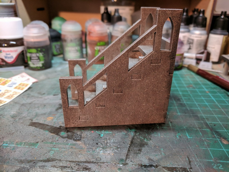 After spray painting the stairs i wanted to add in a couple of extra details to give that lived in look to the underhive.