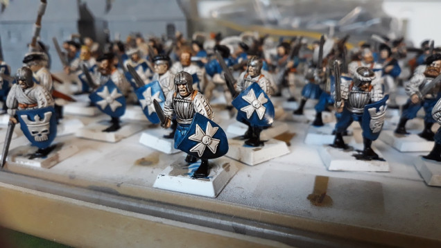 Close-up of the infantry with the varnish having had time to cure.
