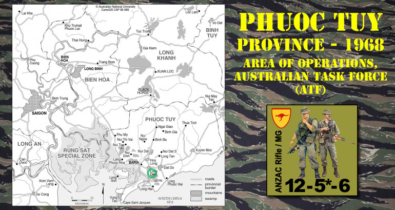 Some quick context.  The Australian Task Force (ATF) spent most of the Vietnam War in this Phuoc Tuy Province, with particularly savage battles around Long Dien and the Lonh Hai Hills.  This is one of the few areas where the Viet Cong attacked the ATF instead of vice versa, so I picked this area since I usually like to let new players to a system take defense (attack or assault missions are actually much harder in most systems).