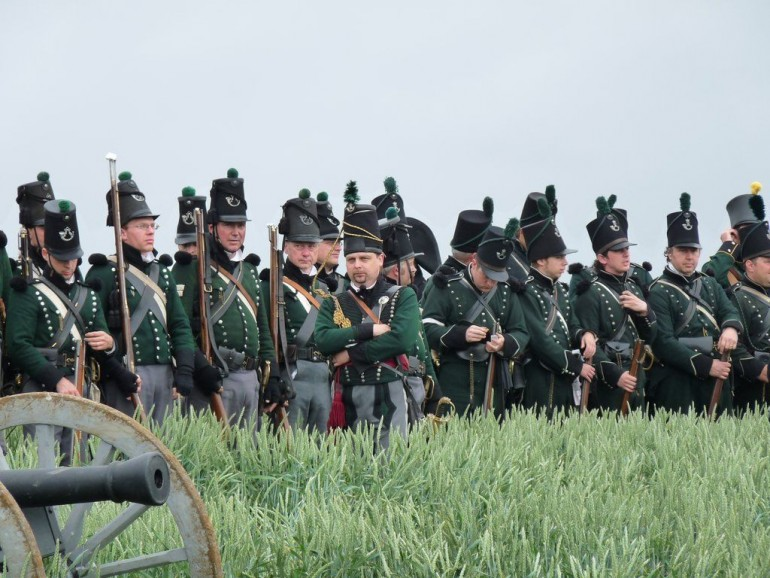 Re-enactors Waiting for the Start of the 200th Anniversary of the Battle of Waterloo.