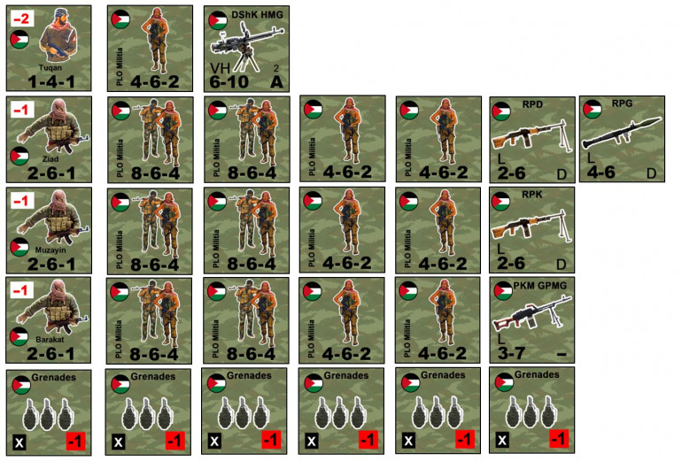The PLO force.  They have a commander and three lieutenants, with three platoons (each of which have two full squads and two half squads, plus a mix of PKM, RPD, and RPK machine guns and RPG-7 rockets).  There's also a four-man gunner team with a Soviet-made DShK 12.7mm heavy machine gun, and a supply of grenades.  In all, 80 guerillas.