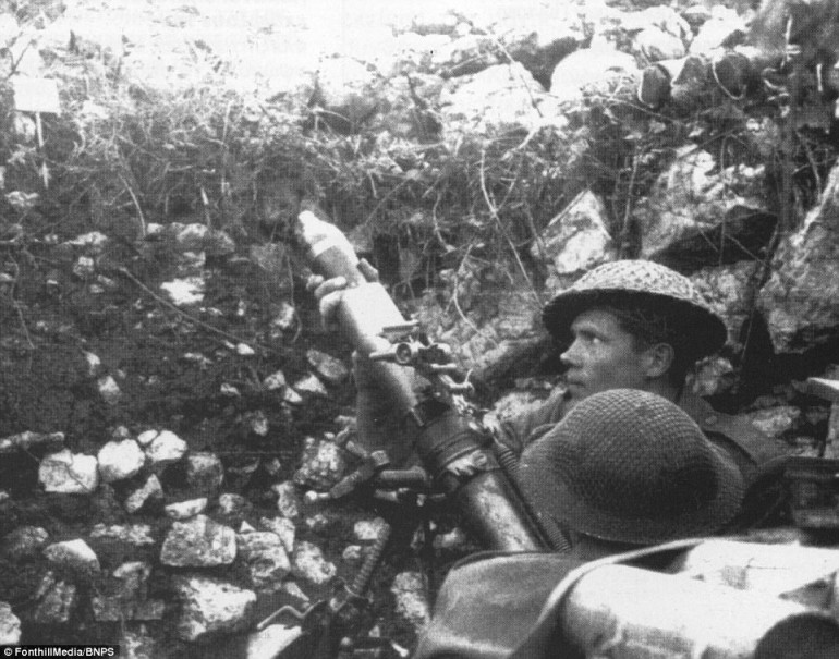Allied Mortar Teams Bombard the Town of Cassino