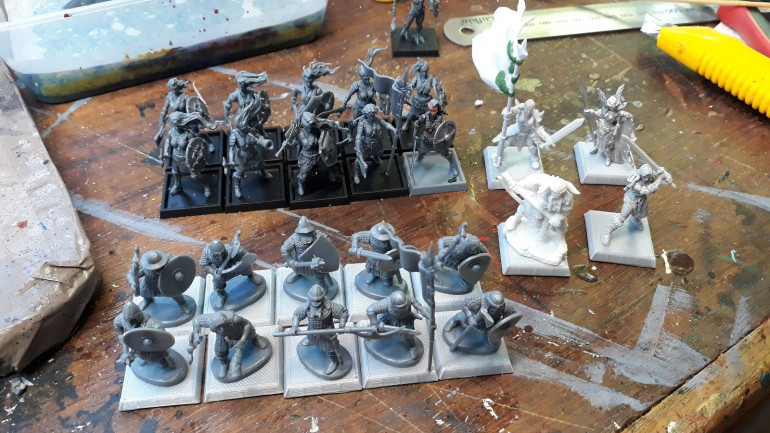 The Shieldmaidens, characters and a unit of 10 Reavers made up of Fireforge Scandinavians with  command components reused from the Shield Wolf shieldmaiden sprue.