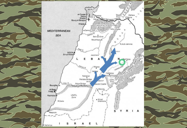 "Here's some quick background and context.  One of Israeli's invasion routes into Lebanon in 1982 was along the southeast-to-northeast axis of the ""Bekka Valley.""  The primary objective of this drive was to protect the flank of the frontal drive along the Lebanese coast toward Beirut, and to cut off in the interior of Lebanon from intervention from Syria (there nevertheless were some pretty serious tank and mechanized engagements in the Bekka Valley between IDF Merkava-1s and Syrian T-72s).  But as this drive pushed up the Bekka Valley, infantry and support detachments fan out along either flank to clear out PLO enclaves.  The green circle shows roughly where this one will take place."