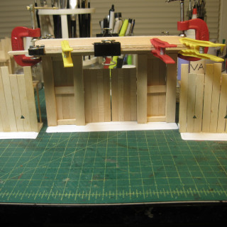 Working on the gate house.