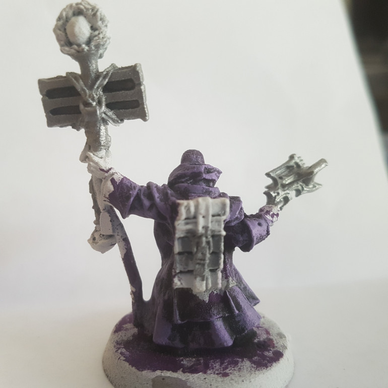 Painted with a 75/25 Mix of Army Painter Matt White and Citadel Zereus Purple