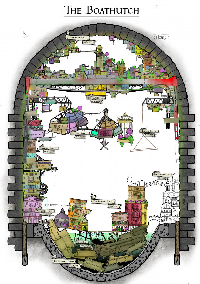 Chipping away at this map of The Boathutch. It's the main city space within the Palace Hopscotch, As you can now see its an adapted sewer of giant proportions. The world itself will make a lot more sense when we've finished the adventure its for.