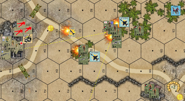 "My airstrikes don't do that much.  They do paste that first RPG team, but the second one misses PLO leader Muzayin (valorous).  My planned mortar strike completely drifts off target, and in fact falls short and damned near hits my own position (intended for hex C1, landed in C3).  Meanwhile, Lt. Gandelev desperately pours fire down on Muzayin's postion, later in the ""Advance and Assault"" phase I will belly crawl northeast one hex to get that medic into the hex with the casualties.  This will get at least one casualty off the table, and I'll have troops to defend the others."