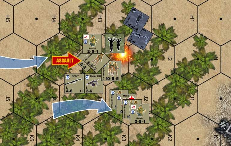 "A close-up of the Lt. Amichai's assault in the south.  Again, PLO opportunity fire thankfully missed.  I won the assault (quite easy, I had 17 men assaulting just 4, plus I  had an officer and invested one of my grenade counters), but even a successful assault means I have to ""pay"" three casualty points (one for the PLO RPG team and two for the +2 woods cover bonus).  I elected to pin three units, two of the 5-5-2 fireteams and my 10-5-4 full squad.  The squad rallied, but the two fireteams did not.  Essentially, when paying required casualty points, the game allows players to, as commanders, be cautious when they can afford it (pin more of your men, keeping casualties down) or ball-out when they have to me (accept casualties, but on fewer units, leaving other units in the stack ready for immediate action such as to repel anticipated counter-assaults).  Meanwhile, a successful assault on insurgents yields me a POW counter, worth extra VP if I can evacuate him off the table."