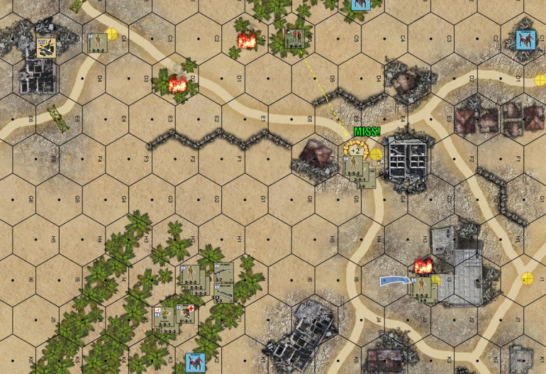 Ending state on Turn 6.  BARELY I've managed to grab a third objective hex (DShK hex in the large building – lower right).  All prisoners and wounded evac'ed in the nick of time.  So I've succeeded in the mission, but again, barely … and did I take too many losses for this mission to be considered a loss?