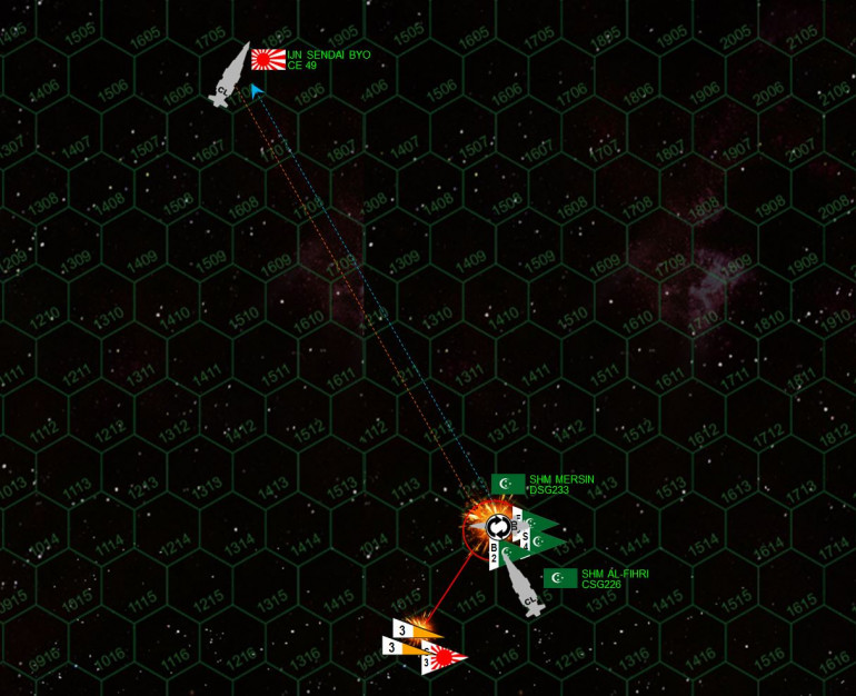 Another Japanese torpedo strike is fended off, barely, and Japanese scouts are shot down as well trying to make a gunnery run or shoot down Arab League bombers as they try to land on the Al Fihri.  Nevertheless, another pin-point accurate broadside from the Sendai Byo leaves the destroyer Mersin crippled and adrift in space.
