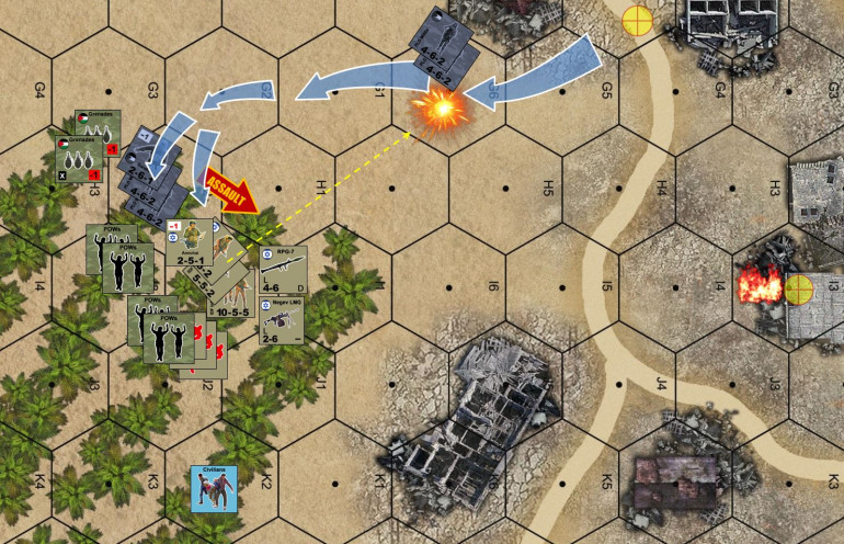 "At the beginning of Turn 3, Lt. Armichai's platoon immediately takes PLO cell leader Zaid prisoner, then pours down firepower on PLO leader Muzayin's position in the north (the one who's earned ""valorous"" on Turn 1).  In the after action phase, Armichai and his men start furiously evacuating casualties (medics can evacuate one casualty marker per turn automatically, other units have to make a pretty tough roll, assisted by Armichai's leadership bonus).  Suffice it to say Armichai's platoon isn't going anywhere any time soon (busy processing prisoners, CASEVACing wounded, and pouring down cover fire for Lt. Gandelev's platoon up north).  Elessar2590 sees this and decides to go for another lucky assault on his Turn 3.  I get opp fire, but I have no grenades left with which to repel the assault.  Luckily for me, this assault is weaker, and Armichai's platoon actually has more support weapons (point blank Negev and RPG fire). This time the assault is repelled, and I actually wind up with some more prisoners."