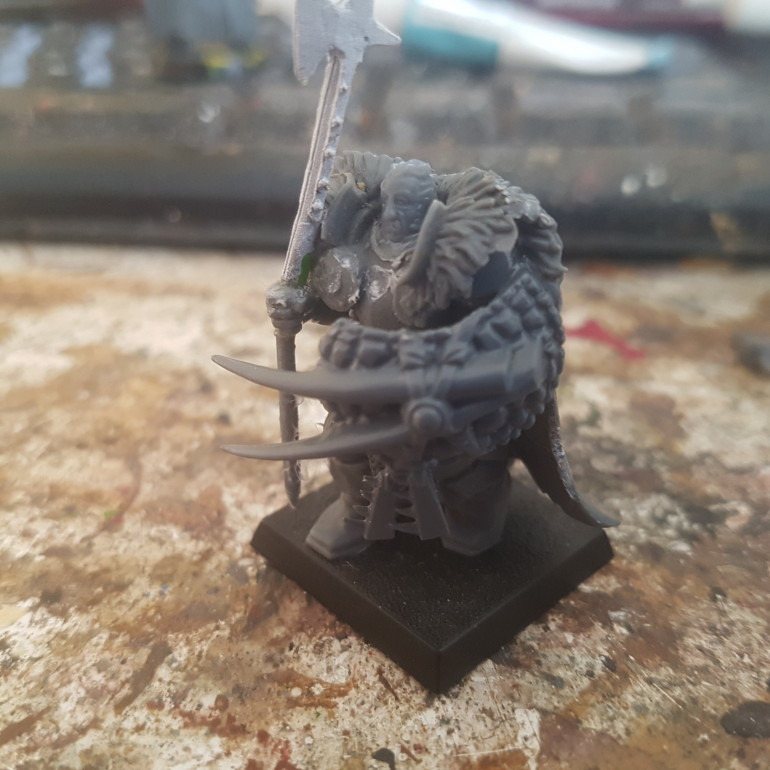 The Halberd is Taken from Warlord Games Landschneckt, the Head is Taken from Warlord Games French Infantry and the Shield is Taken from a Lizardman.