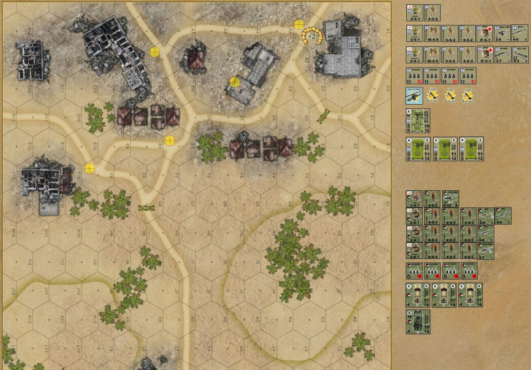 Okay, here is the map and the two forces.  My IDF has to come on the map from the south, and take at least three of the hexes marked in yellow