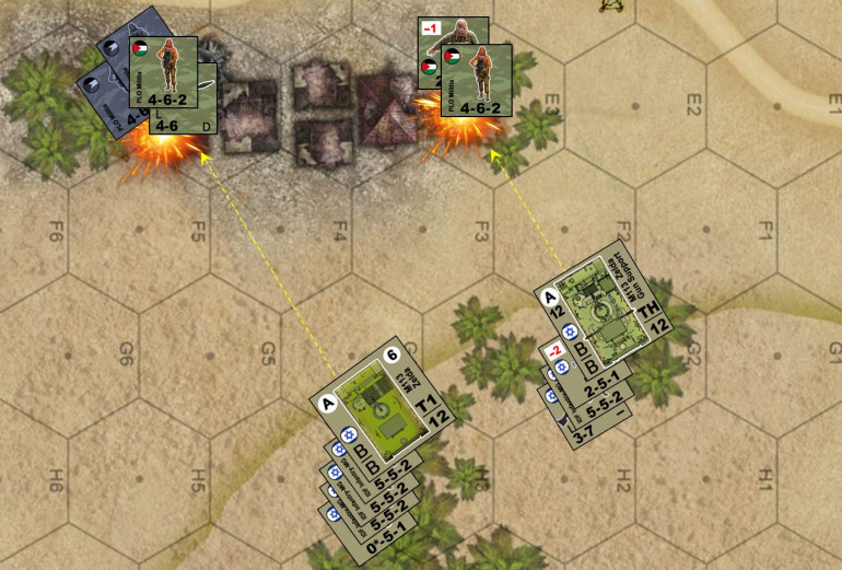 Things seems to start well.  The Israeli APCs roll in, the PLO moves up RPG teams to attack them, and we get opportunity fire as they do so, killing and pinning them as they move.