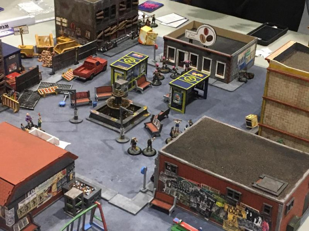 While not B&B related, I also provided terrain for another game on the day, Wild in the Streets by Slow Death Games. Here is the only shot I have of it in action.