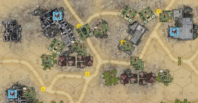The PLO sets up on defense.  They're hidden out of initial lines of sight, hoping to deny the Israelis any easy free kills with off-board mortars or their one helicopter gunship strike.  Also keep an eye on those civilian counters.  Neither side really controlls them, but they can definitely be used to the PLO player's advantage.