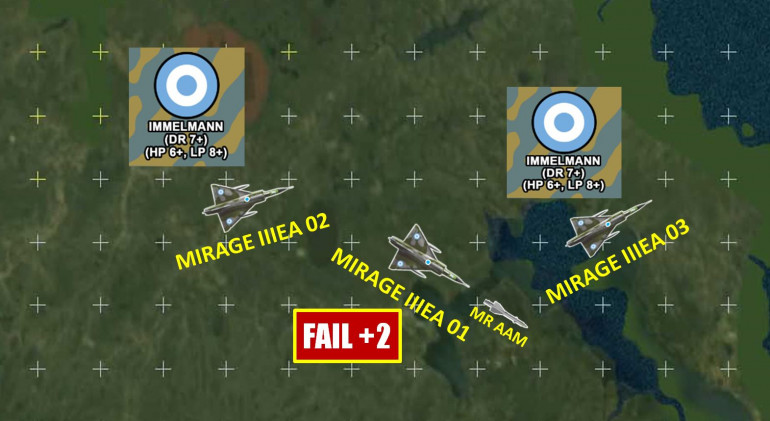 Mirages, pushing 950 knots, try to pull Immelmans to vector toward the sidestepping Harriers (both just executed successful barrel rolls + turn maneuvers).  One Mirage fails the roll, but still manages a lock with SARH R.550