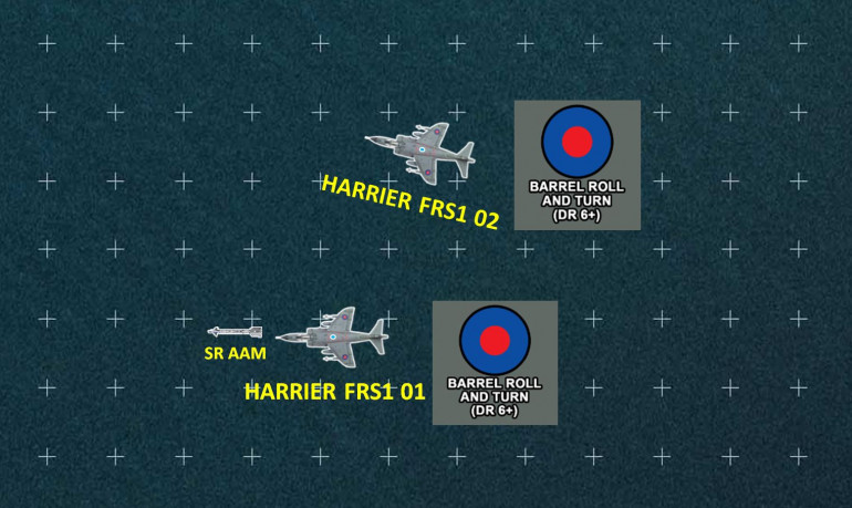 The Harriers respond.  They fire American made AIM-9L Sidewinder IR-guided short-ranged air-air missiles.  The keyy advantage here is that the Sidewinder