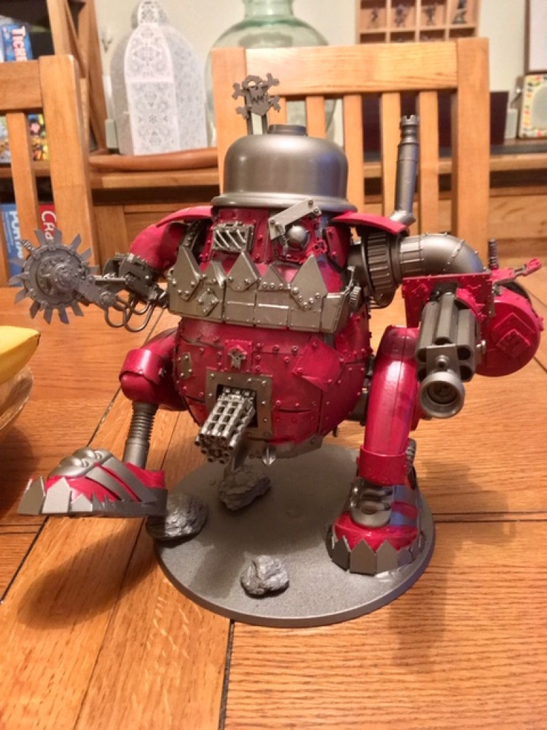 But, in the end I went for Red. This is the first coat of Citadel WazDakka Red on all the areas that will be red