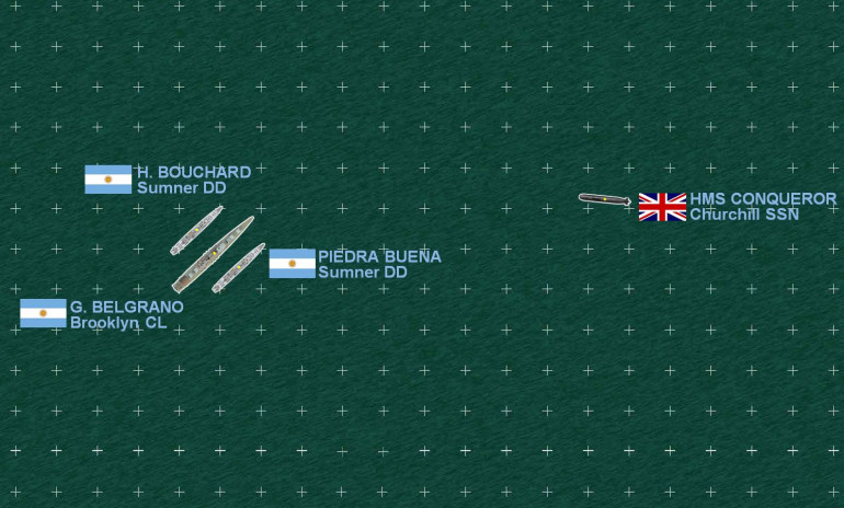 The one major part of the naval war that really did happen, the fateful encounter between the British nuclear submarine HMS Conqueror and the Argentinian cruiser Belgrano.  Note there are no ASW helos launched, dropping sonobuoys or ASW torpedoes.  That's because Belgrano is an old American WW2 light cruiser, and her escorts are old American WW2 Sumner class destroyers.  No helicopter pads.  Not good.  In modern naval combat, helicopters play an absolutely crucial role - not so much in combat, but in keeping your fleet safe, and keeping you informed.