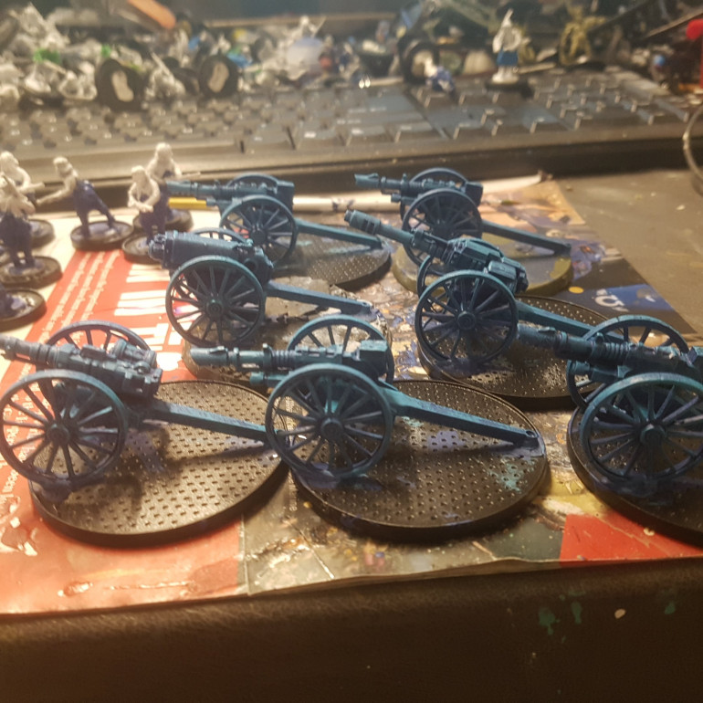 The Artillery Pieces were Basecoated in Macragge Blue