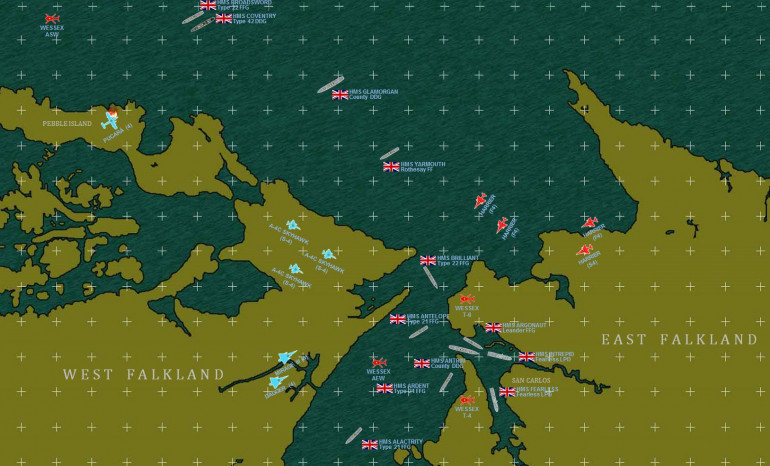 Here's a little bit of a zoom-in where things get really tight.  This is a ROUGH historical approximation of the initial British landings at San Carlos.  Note there are NO Argentinian ships, by now they were fighting this naval war almost entirely by air.  But these airstrikes were incredibly ferocious, the British would soon call San Carlos