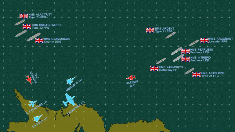 The spearhead of the British amphibious landing force approaches the north coast of East Falkland, and is about to attacked by a major Argentinian air strike launched off the mainland.  Those British destroyers and frigates have SAMs at the ready, however, and of course two flights of FRS1 Sea Harriers are vectoring in to intercept.  The Mirage IIIs and Daggers will mix up in a dogfight, while the Canberras and Etendards make their bombing runs.