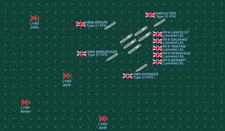 In contrast, the leading element of the British support fleet (made up of five