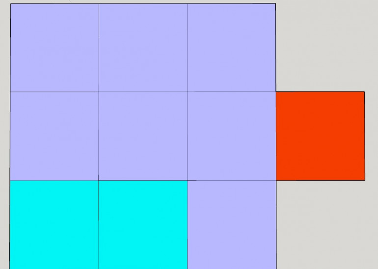The Battery. Red is the Command Gun, Purple are the Lascannons and Blue are the Autocannons.