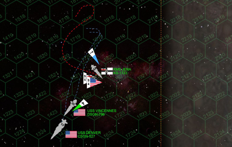 Meanwhile, the last little ship Jena, executes an insane little fish-hook turn and again broadsides the stern of the Vincennes.  This time the Vincennes loses power for sure.  But at least now she's powered up out of a death spin toward the gas giant's core.  Vincennes will make her recovery check after the battle, and thus will eventually see service again.  Meanwhile, aft guns of the Denver put two EPC bolts through the bridge of the Jena, mercifully ending this battle.  Hey, with the ass-kickings that I've taken in Valor & Victory and AirWarC21, I deserved to win a game ONE of these days.  :D