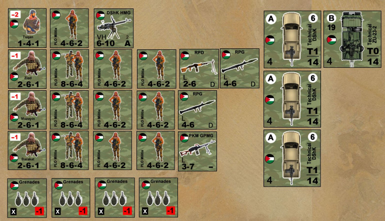 The PLO has three platoons, three technicals with DShK 12.7mm HMGs, and one big one with x2 23mm AA autocannon.