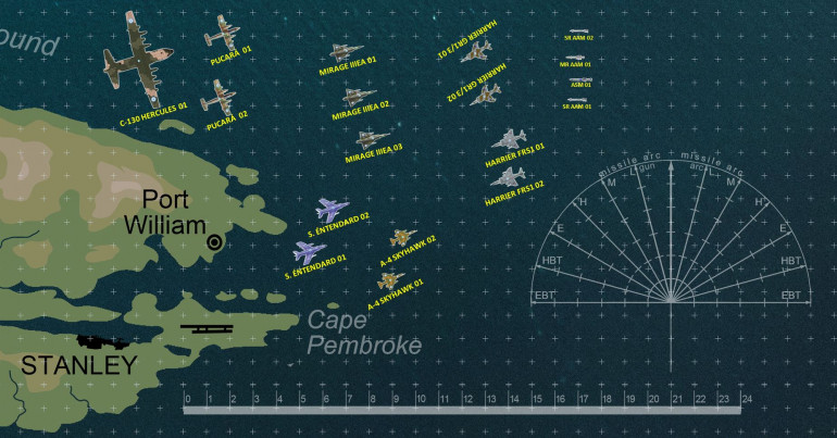 Expanded the aircraft types, trying to cover more of what is featured in the Operation Corporate AirWar C21 supplement.  Added Argentinian Super Entendard (navy strike planes), C-130 Hercules (US-made transport), and IA-58 Pucara (counterinsurgency strike / recon turbo props).