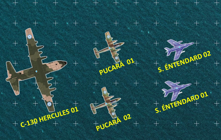 Close up of the new aircraft.  The planes to to scale with each other, but not to the ground scale of the game (logarithmic, but ROUGHLY each grid is about half a nautical mile). This is why there is a blue dot in the center of each aircraft. showing its true position for ranging and movement.