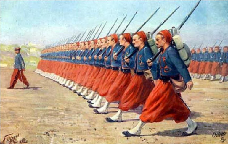 The Minis Themselves are Zouaves. Originally French Troops they became Something of a Fashion in the Mid to late 19th Century and there were Even Zouaves in the Early Days of WWI.