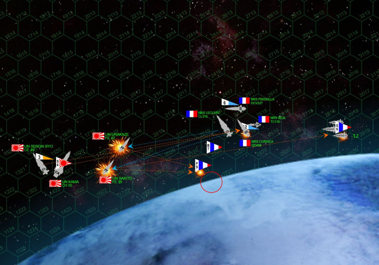 Turn 3 and things get very serious.  First the French zoom in with fighters and bombers, ready to launch an aerospace torpedo and missile strike on the Kama's stern.  Rasmus sees the move and opens fire with long-range mass driver fire from the Urakaze and Sakito, knocking down four bombers from the carrier Priscilla.  The fighters launch as well, as well as French ground based bombers, but their torpedoes can't quite reach the stern so they have to hit the starboard quarter.  French warship torpedoes (Class IV gravitic) hammer into the stern, but the Kama and Sendai Byo shoot most these torpedoes down.  In all,  the whole aerospace / torpedo strike is very disappointing for the French.  The only bright spot is the broadside of the light cruiser Leclerc manages to cripple the Urakaze straight away, and Leclerc's heavy 12-megakelvin laser battery slash open the Sakito so the escorting destroyer Corsica can finish her off.  Meanwhile, the Corsica is heavily hammered by Japanese gunfire and forced to break off.  Japanese torpedoes hammer into one of the troop ships and leave it heavily damaged as well.
