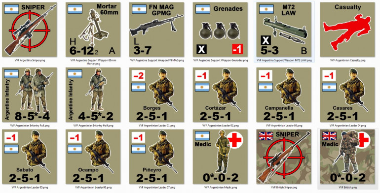 So here are Argentinian infantry conscripts, commanders / leaders, support weapons, British snipers and medics, Argentinian snipers and medics ... pretty much the rest of what is needed to run a beginning Valor & Victory game in the Falklands, 1982.  Hey, anyone ELSE build two whole armies in the last 6 hours? =D