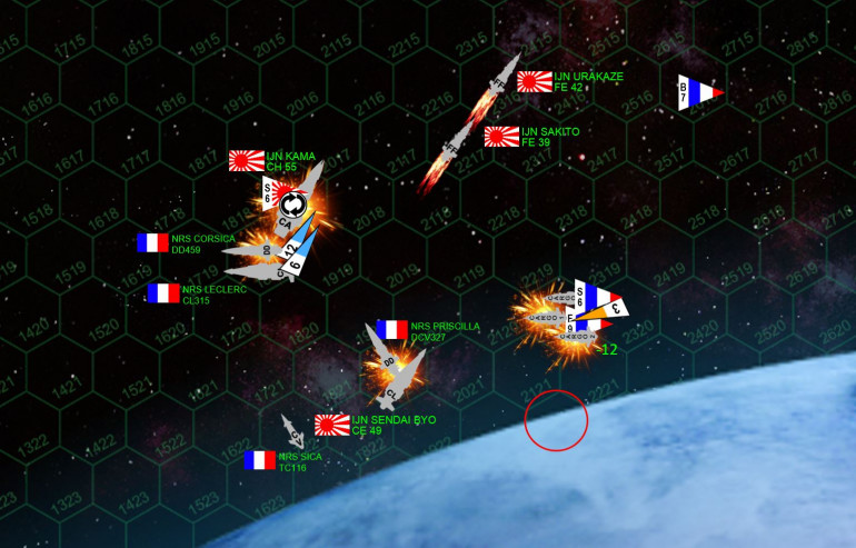 The climax of the game on Turn 4.  While the Urakaze and Sakito careen helplessly away from the moon, the French assault ships rush in.  The damaged one takes a hit from a Dragon Slayer torpedo, exploding it. Two more Dragon Slayers hit the second troop ship, leaving it burning in space until Kama's heavy forward batteries likewise tear it apart.  Two drop ships are destroyed, and the third is heavily damaged, but WILL make it to the surface during the movement phase of Turn 5.  The Kama has her own problems, however.  As she struggles up out of the moon's gravity well, the Leclerc and Corsica (technically heading off the table, remember), slash across her stern in a double broadside.  The move is risky, and in fact leaves the Corsica even more badly damaged.  But the Leclerc tears the Kama's aft sections apart and cripples the heavier Japanese ship.  Meanwhile, Leclerc's mass driver guns also shoot down the six Japanese scouts!  The carrier Priscilla is lost, however, as the Sendai Byo cuts across her stern (both ships' hulls probably glowing red from friction with the moon's upper atmosphere).