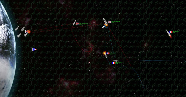 "The French cargo drones have practically ""bounced"" off the planet's atmosphere here, but they've still lost a second cargo drone.  Three remain, but they're already only two turns from the edge of the board!  The Bellerophon, meanwhile, has rolled over on her back, having lost her starboard quarter shields.  This maneuver hopes to shield the starboard quarter from the 8-megakelvin lasers of the two French destroyers, but these Milan-IIs are fast if nothing else.  And with the additional Tactics battle upgrade, they ALWAYS win initiative.  You can see where NRS Corsica and Calais are really putting the speed on here, trying to get at the Bellerophon's starboard quarter (actually on the left side here, again, because the ship is inverted).  One or two solid volleys in that vulnerable spot will cripple the ship and save the day!   Calais makes it, but can only put in her forward guns.  Inversely, Corsica does NOT make it, but can put her whole broadside into a barrage on Bellerophon's stern."
