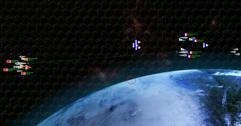 "The fleets enter the battlespace in high orbit over the Troie Filles moon.  Both sides launch torpedoes.  The French have far more (thanks in part to the carrier Priscilla and torpedo corvette Sica), but the Japanese torpedoes are the deadly Ki-45 ""Toryu"" (Dragon Slayer).  Perhaps even more ominously, the French are also launching fighters and bombers.  The French approach vector has been quite fast, as deChalemonde is determined to get his warships between the Japanese and the troops transports that have started their assault run toward the moon's surface."