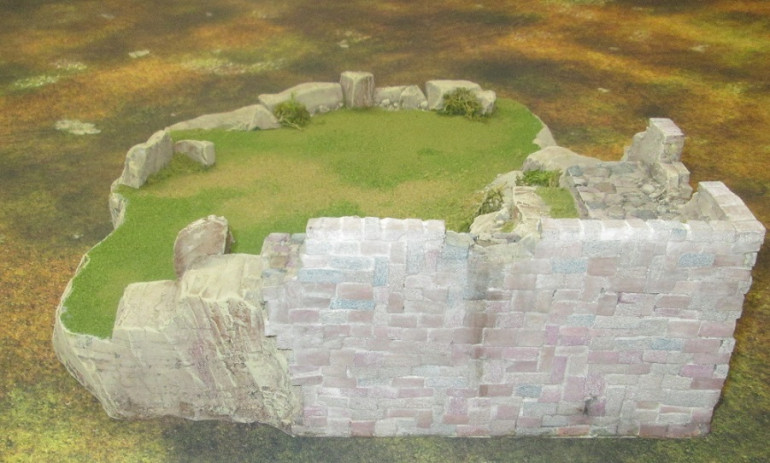 I fiddled with brick size again on this wall, but am on the fence about whether I will use this method to build an entire castle. If I do, I will use more larger bricks where possible. This will get another wash at the finishing stage to darken it somewhat.