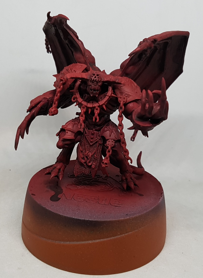 I didn't have enough time to do any more to the Soul Grinder, but had too much time to call it a night so I also based and washed the flesh on my Daemon prince at the same time.