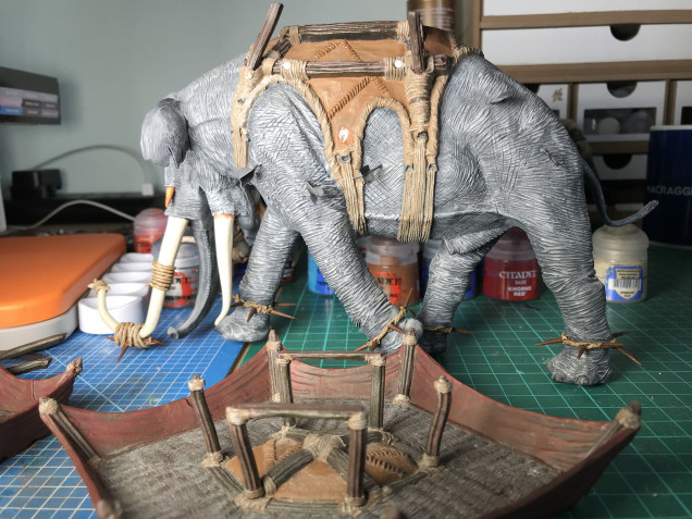 I've done some more work on the rope and wood here, mainly applied a wash and some highlights