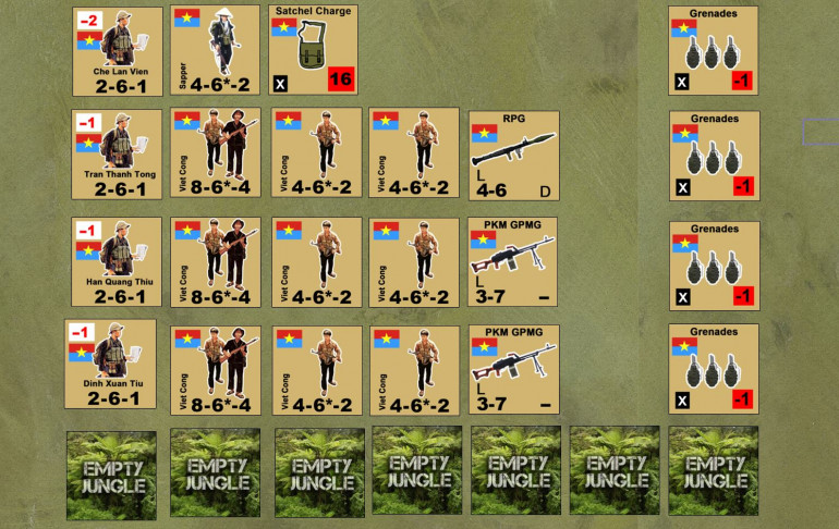 "The NLF / Viet Cong force, naturally, is larger but of poorer quality.  Note the lower combat values on the counters and far fewer support weapons.  Secondly, I have no off-board artillery or (of course) helicopters.  Again, however, booby traps are all over this map.  Any time Elessar moves an infantry unit, he has to make a roll to avoid hitting one.  Also, there are civilians, which will hamper his movement and fire but not mine.  Finally, all my units are MASKED, and some of those masked units will be the ""Empty Jungle"" dummy counters along the bottom.  Essentially this adds a fog of war element to the game, at least for the Australians.  I always know where his units, he never knows for sure which masked counters are ""real"" and which are dummies, until I open fire and hopefully knock down that poor bastard on point."