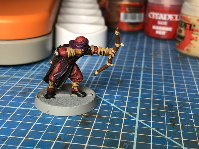 A brown wash applied