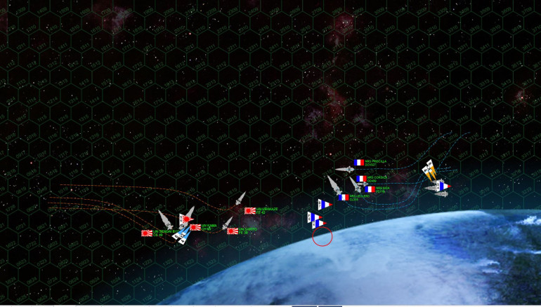 "Taking the moon's gravity into account, the French and Japanese battlegroups close to the orbital invasion zone.  The French, in particular, have dipped VERY close to the moon intent on staying out of the Kama's full broadside of massive 18-teravolt electron particle cannons.  Those Akashi class strike frigates, meanwhile, mount ALL their guns forward, making them vulnerable but allowing them to 'stab"" right at the enemy with full firepower to bear (i.e., no need to maneuver to broadside)."