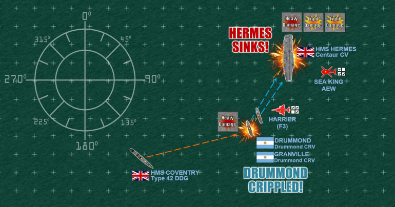 "Pretty sure that I will lose that destroyer battle to the west, I send in my two corvettes on a mad attempt to win a moral victory by putting just one more ""Heavy Hit"" (or two ""Light Hits"") on the damaged HMS Hermes.  It's probably going to cost me both ships in the end, but I do get two more Light Hits, and Hermes fails both damage control checks (you can make damage control checks on light damage but not heavy damage).  Hermes is an irrecoverable wreck and will probably be scuttled in the coming hours or days, if she's not sinking already.  One more flight of four Mirages arrives on Turn 4, I decide on two fighters and two strike loads.  The two strike loads are shot down long before they reach the HMS Fearless, and the fighters don't want to tangle with three Harriers (even if the Harriers will have to pull out this turn due to fuel to make it back to emergency landings on HMS Invincible somewhere)."
